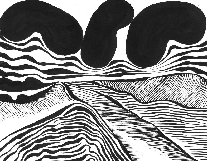 Coincidences - series of drawings, black and white abstract landscapes by Jan Astner